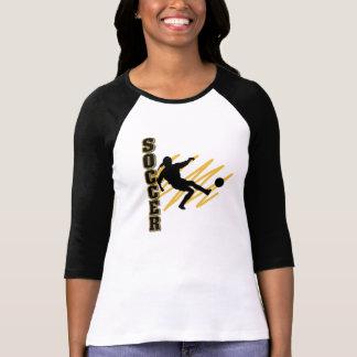 Camiseta Ouro e jogador de futebol fêmea do preto