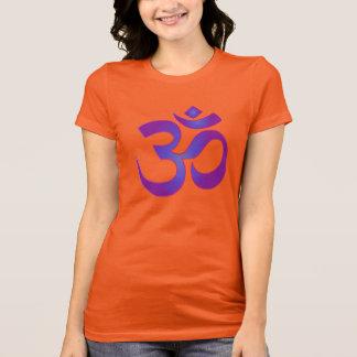 Camiseta Ouro e símbolo roxo de OM do zen da meditação da