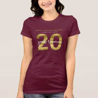 Camiseta Ouro elegante do falso reunião de escola de 20