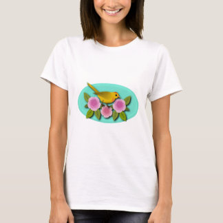 Camiseta Oval amarelo das peônias e do Aqua do rosa do