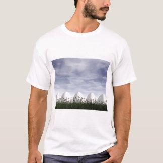 Camiseta Ovos da páscoa brancos na natureza - 3D rendem