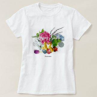 Camiseta Ovos da páscoa da aguarela, patinhos & flores do