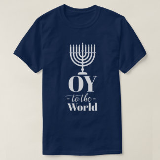 """Camiseta """"Oy engraçado ao mundo"""" Menorah judaico Hanukkah"""