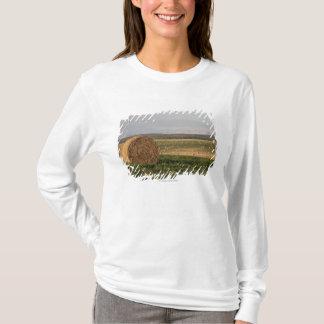 Camiseta Pacotes de feno em um campo com as montanhas no