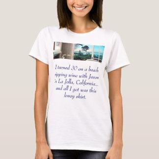 Camiseta página-lg-CRNA, eu girei 30 em uma praia que sorve