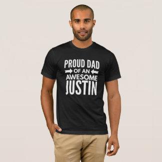 Camiseta Pai orgulhoso de um Justin impressionante