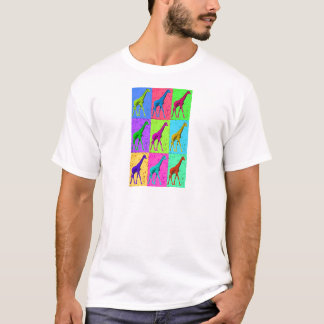 Camiseta Painéis de passeio do girafa do pop art
