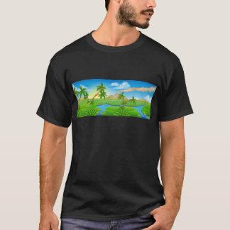 Camiseta Paisagem pré-histórica da cena do fundo dos