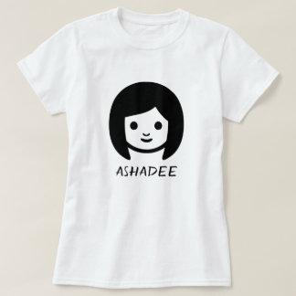 Camiseta Palavra em Karankawa: ashadee e uma cara da mulher