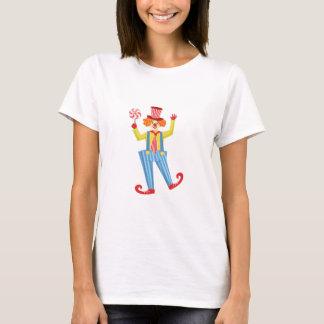 Camiseta Palhaço amigável colorido com o Lollypop em O
