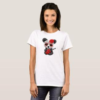 Camiseta Panda vermelha do crânio do açúcar que joga a