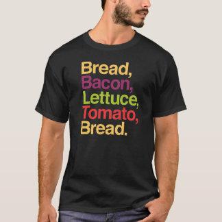 Camiseta Pão de BLT, bacon, alface, tomate, t-shirt do pão