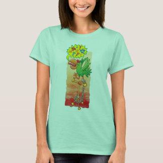 Camiseta Papagaio verde furioso que diz palavras más