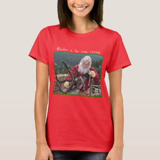 "Camiseta Papai noel ""Babbo"" e sua rena ""renna """
