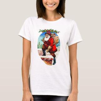 Camiseta Papai noel do natal vintage que pisa na chaminé
