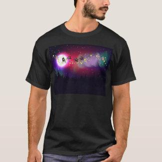 Camiseta Papai noel do vôo sobre a Aurora Borealis