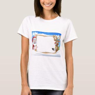 Camiseta Papai noel e fundo do sinal do Natal da rena
