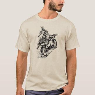 Camiseta Papai noel em uma camisola da motocicleta
