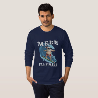 Camiseta Papai noel engraçado de Mele Kalikimaka que surfa