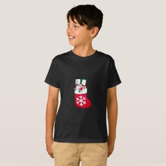 Camiseta Papai Noel pequeno feliz bonito na peúga