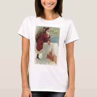 Camiseta Papai noel que pisa em uma chaminé