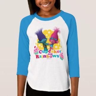 Camiseta Papoila & ramo dos troll | - cupcakes e arcos-íris
