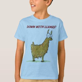 Camiseta para baixo com lamas