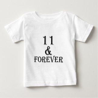 Camiseta Para Bebê 11 e para sempre design do aniversário