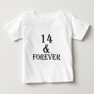 Camiseta Para Bebê 14 e para sempre design do aniversário
