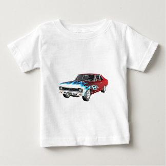 Camiseta Para Bebê 1968 carros brancos e azuis vermelhos do músculo