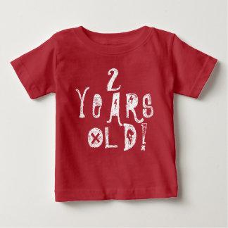 Camiseta Para Bebê 2 anos de rocha vermelha do crânio do aniversário