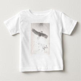 Camiseta Para Bebê 4' th da águia americana dos fogos-de-artifício de