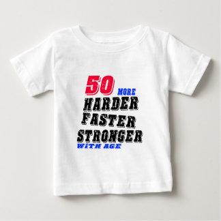 Camiseta Para Bebê 50 mais fortes mais rápidos mais duros com idade
