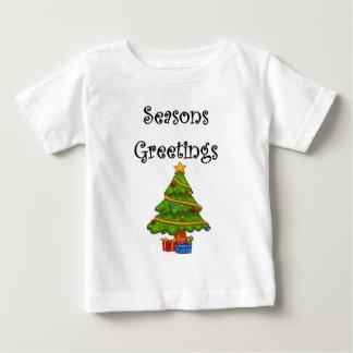 Camiseta Para Bebê A árvore de Natal tempera cumprimentos
