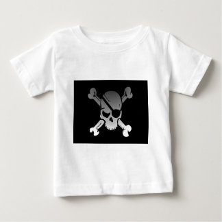 Camiseta Para Bebê A bandeira de pirata dos Crossbones do crânio