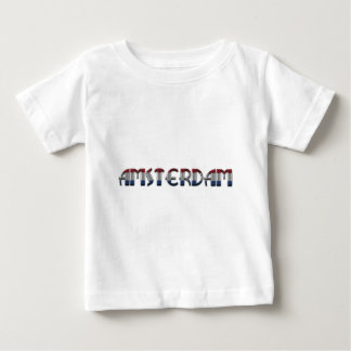 Camiseta Para Bebê A bandeira holandesa de Amsterdão colore a