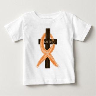 Camiseta Para Bebê A cruz do sobrevivente alaranjado da leucemia da