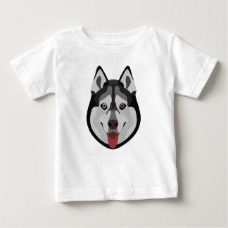 Camiseta Para Bebê A ilustração persegue o rouco Siberian da cara