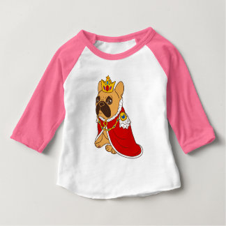 Camiseta Para Bebê A jovem corça preta Frenchie da máscara é o rei da