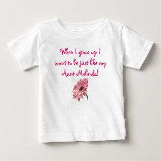 Camiseta Para Bebê a margarida cor-de-rosa, quando eu me cresço acima