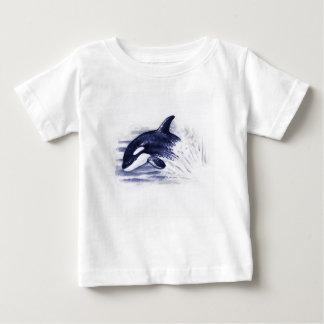 Camiseta Para Bebê A orca do bebê salta