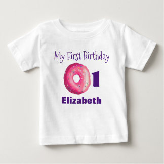 Camiseta Para Bebê A rosquinha cor-de-rosa do primeiro aniversário
