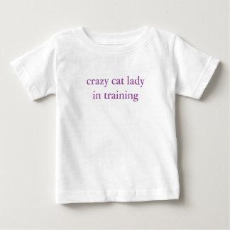 Camiseta Para Bebê a senhora louca do gato no treinamento caçoa o