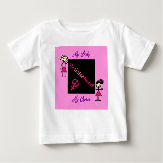 Camiseta Para Bebê A vara de Resisterhood figura o fundo cor-de-rosa