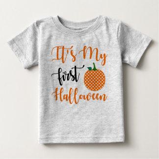 Camiseta Para Bebê Abóbora da menina do primeiro aniversario