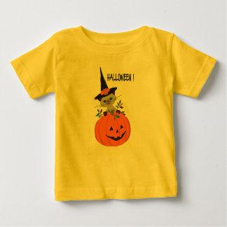 Camiseta Para Bebê Abóbora feliz do Dia das Bruxas com a flor do gato