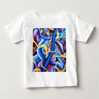 Camiseta Para Bebê Abstrato contemporâneo do azul - ilusão da