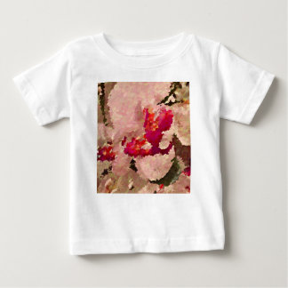 Camiseta Para Bebê Abstrato vermelho e branco da orquídea