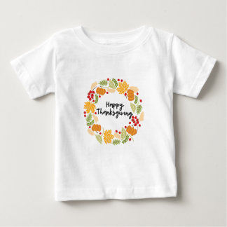 Camiseta Para Bebê ACÇÃO DE GRAÇAS FELIZ, grinalda da acção de