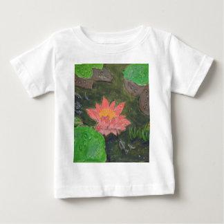 Camiseta Para Bebê Acrílico em canvas, flor cor-de-rosa do lírio de